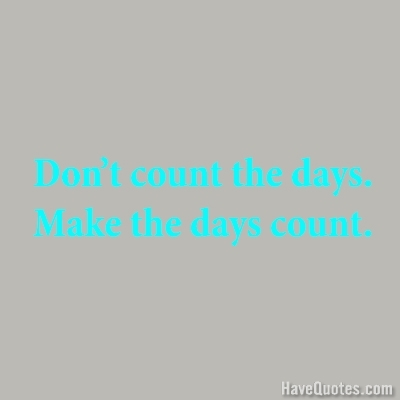 Dont count the days make the days count Quote